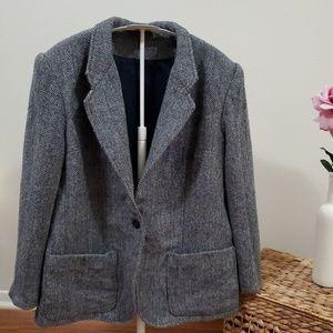 HERRINGBONE Pattern Wool Mix Boyfriend Blazer